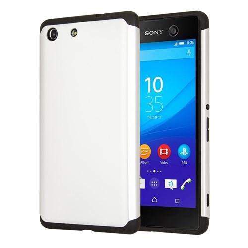 Microsonic Sony Xperia M5 Kılıf Slim Fit Dual Layer Armor Beyaz