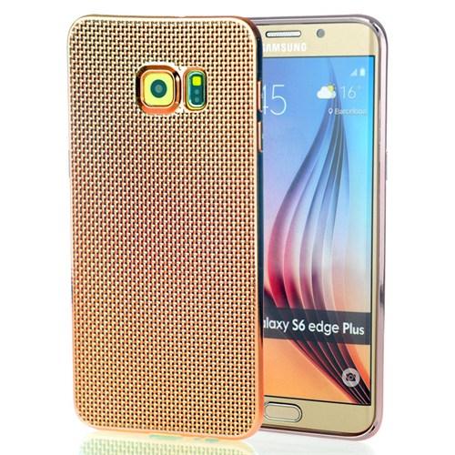 CoverZone Samsung Galaxy S6 Edge Plus Kılıf Silikon Metalik Görünüm Gold
