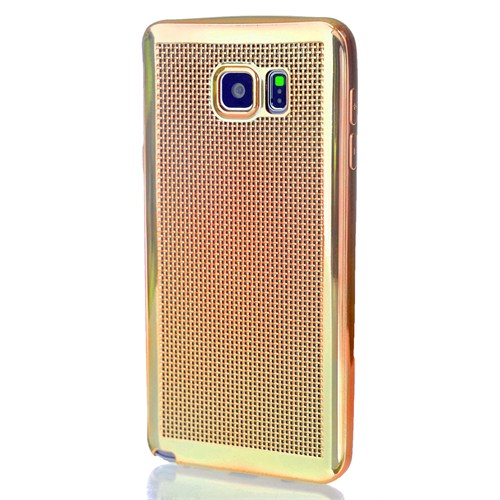 CoverZone Samsung Galaxy Note 5 Kılıf Silikon Metalik Gold