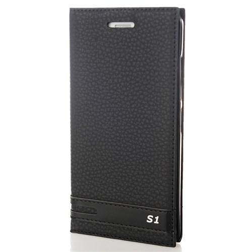 CoverZone Lenovo Vibe S1 Kılıf Kapaklı Deri Siyah