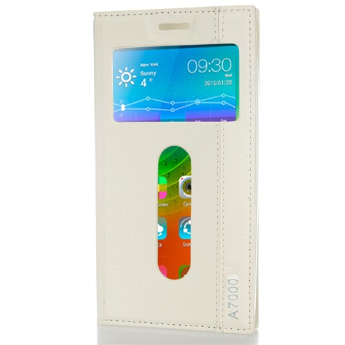 CoverZone Lenovo A7000 Kılıf Kapaklı Pencereli Beyaz