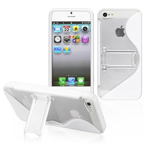 CoverZone Apple İphone 5 - 5S Kılıf Silikon Standlı Beyaz