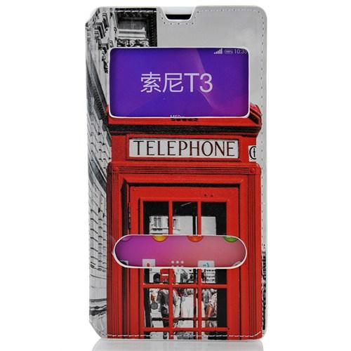 CoverZone Sony Xperia T3 Kılıf Kapaklı Pencereli Londra Telefon Kulübesi