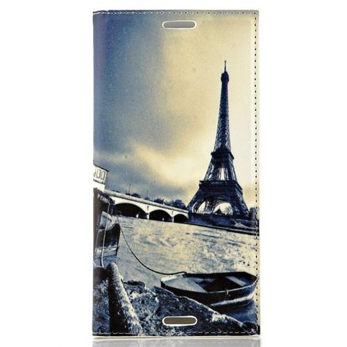 CoverZone Sony Xperia M4 Aqua Kılıf Kapaklı Paris Ve Kayık