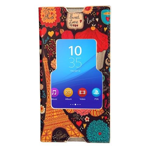 CoverZone Sony Xperia M5 Kılıf Kapaklı Pencereli Paris In Love