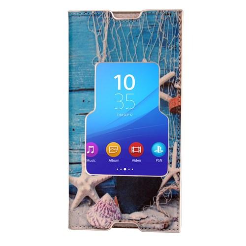 CoverZone Sony Xperia M5 Kılıf Kapaklı Pencereli Deniz Kabuğu