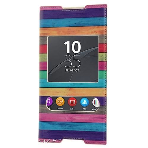 CoverZone Sony Xperia C5 Ultra Kılıf Kapaklı Pencereli Renkli Çizgiler