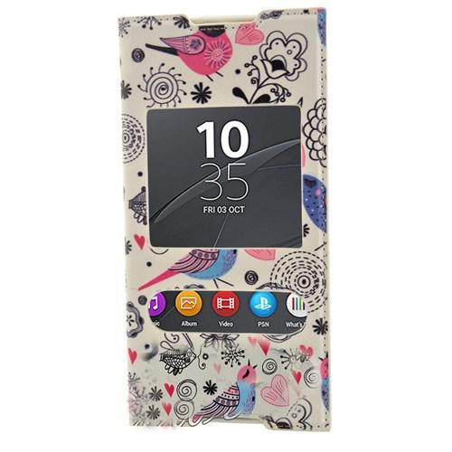 CoverZone Sony Xperia C5 Ultra Kılıf Kapaklı Pencereli Londra Kuşlar