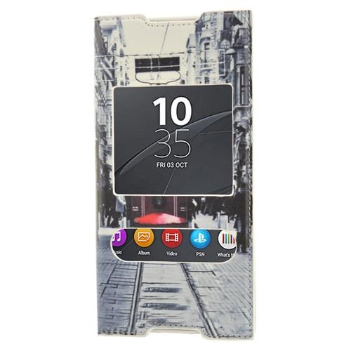CoverZone Sony Xperia C5 Ultra Kılıf Kapaklı Pencereli Taksim Tramvay