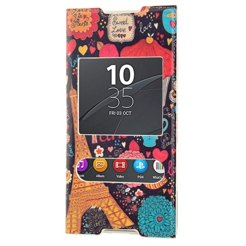 CoverZone Sony Xperia C5 Ultra Kılıf Kapaklı Pencereli Paris In Love