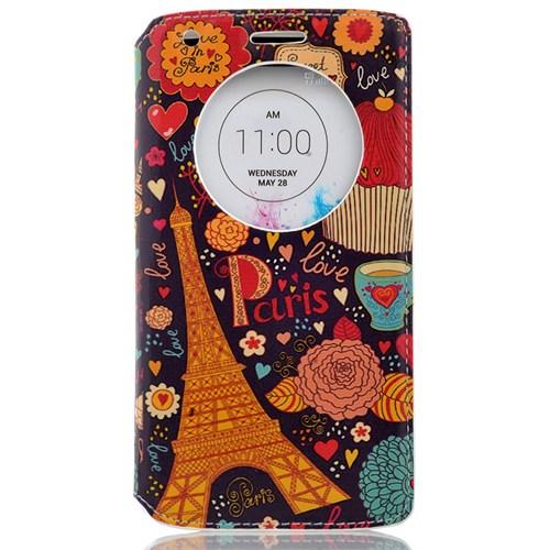 CoverZone Lg G4c Kılıf Akıllı Kapaklı Paris In Love