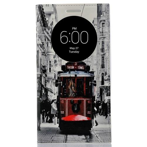 CoverZone Lg G4c Kılıf Akıllı Kapaklı Taksim Tramvay