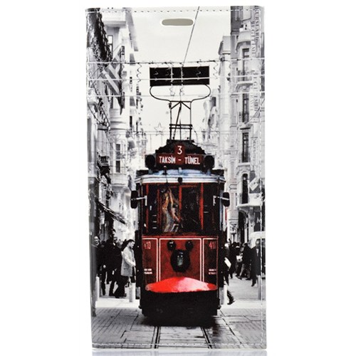 CoverZone Samsung Galaxy S6 Edge Plus Kılıf Kapaklı Taksim Tramvay