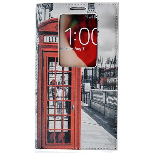 CoverZone Lg G2 Kılıf Akıllı Kapaklı Londra Telefon Kulübesi