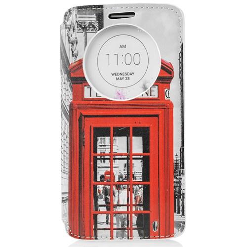 CoverZone Lg G3 Kılıf Akıllı Kapaklı Londra Telefon Kulübesi
