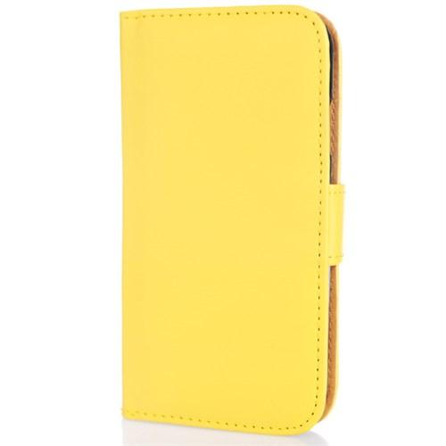 CoverZone Samsung Galaxy S4 Kılıf Kapaklı Cüzdan Sarı