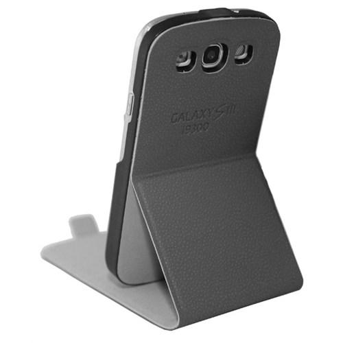 CoverZone Samsung Galaxy S3 Kılıf Dik Kapaklı Standlı Gri