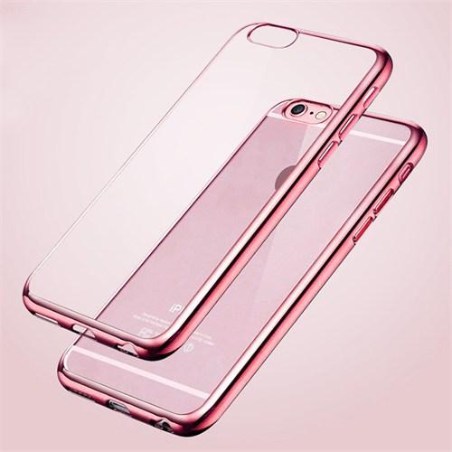 Ebox Apple Iphone 6 Kenarları Rose Varaklı Şeffaf İnce Silikon Arka Kapak - EBX-0090