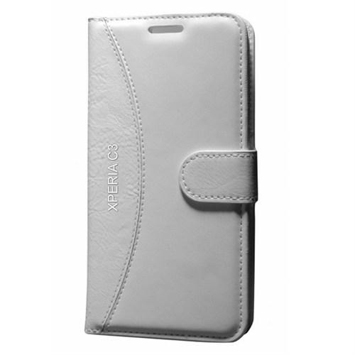 Cep Market Sony Xperia C3 Kılıf Standlı Cüzdan - Beyaz