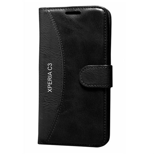 Cep Market Sony Xperia C3 Kılıf Standlı Cüzdan - Siyah