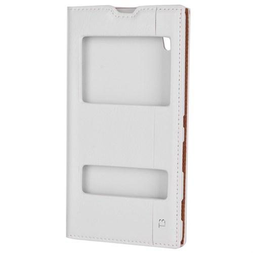 Cep Market Sony Xperia T3 Kılıf Pencereli Milano - Beyaz