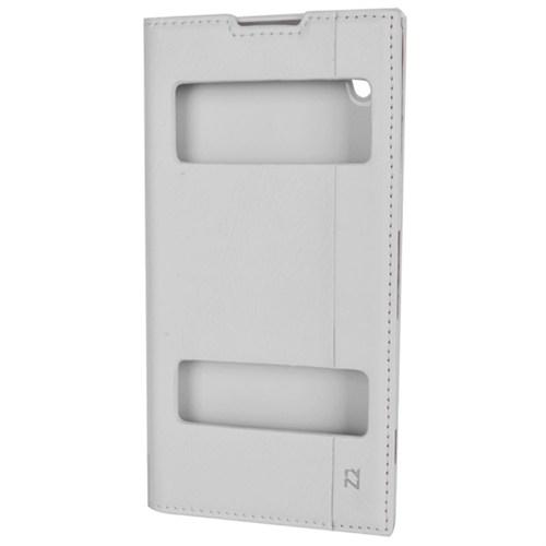 Cep Market Sony Xperia Z2 Kılıf Pencereli Milano - Beyaz