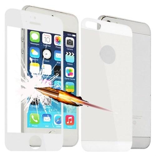 Lopard Apple İphone 5 5S Kırılmaz Cam Ön Arka Temperli Renkli Ekran Koruyucu Film Beyaz
