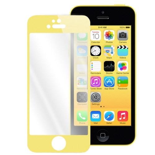 Lopard Apple İphone 5 5S Kırılmaz Cam Ön Arka Temperli Renkli Ekran Koruyucu Film Gold