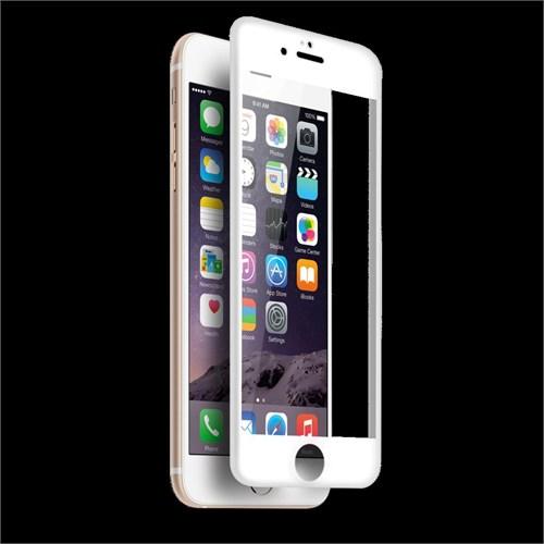 Lopard İphone 6S 3D Tam Kapatan Kavisli Temperli Cam Ekran Koruyucu Beyaz