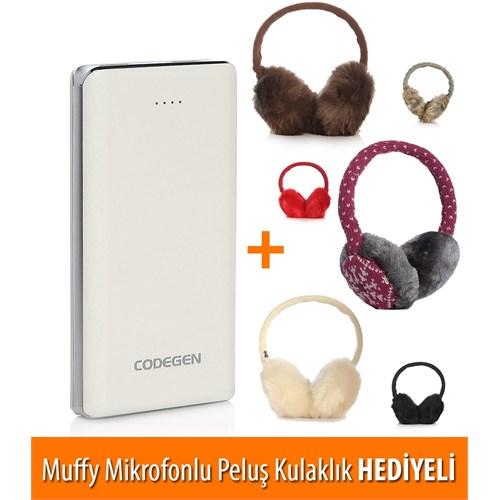 Codegen Powerx 10000 mAh Beyaz Taşınabilir Şarj Cihazı L10-W + Muffy Kulaklık Hediyeli