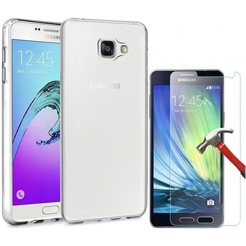 Kılıfshop Samsung Galaxy A3 2016 Silikon Kılıf + Kırılmaz Cam Ekran Koruyucu
