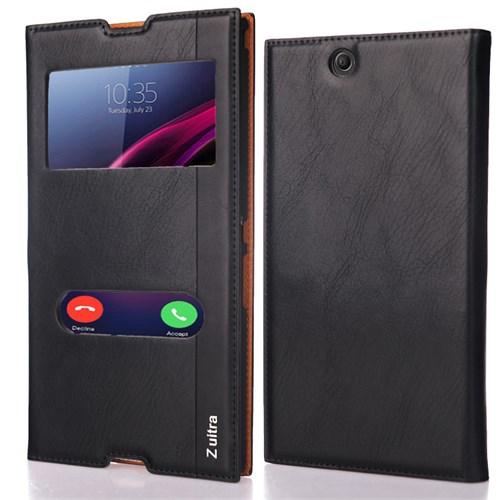 CoverZone Sony Xperia Z Ultra Kılıf Kapaklı Pencereli
