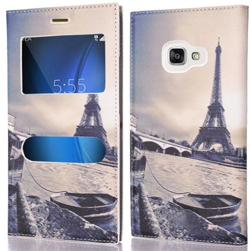 CoverZone Samsung Galaxy A5 2016 Kılıf Pencereli Kapaklı Resimli Paris