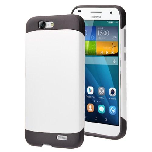 Microsonic Huawei Ascend G7 Kılıf Slim Fit Dual Layer Armor Beyaz