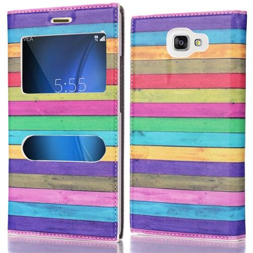 CoverZone Samsung Galaxy A5 2016 Kılıf Pencereli Kapaklı Resimli Renkli Çizgiler