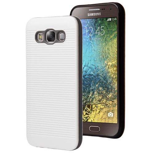 Microsonic Samsung Galaxy E7 Kılıf Linie Anti-Shock Beyaz