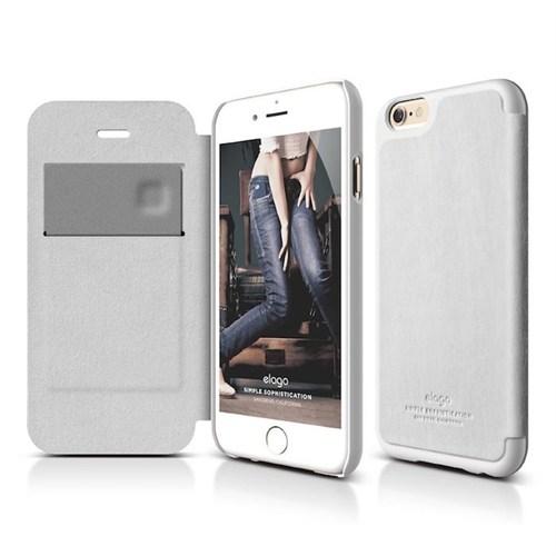 Elago Apple iPhone 6/6S Plus Lether Deri Kapaklı Kılıf Beyaz