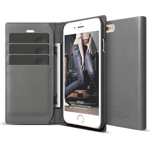 Elago Apple iPhone 6/6S Leather Limited Editon Deri Kılıf Duman Gri