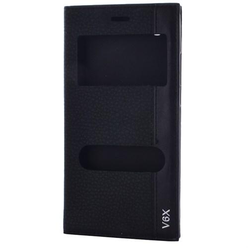 Cep Market Casper Via V6x Kılıf Kapaklı Pencereli Magnum - Siyah