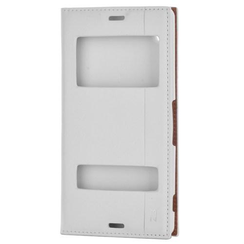 Cep Market Sony Xperia Z3 Kılıf Milano Pencereli Kapaklı - Beyaz