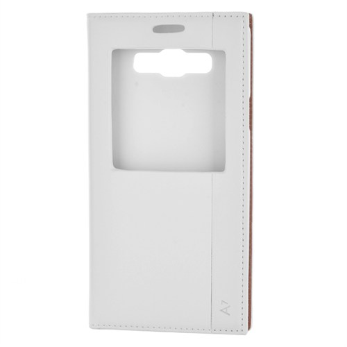 Cep Market Samsung Galaxy A7 Kılıf Pencereli Kapaklı Milano - Beyaz