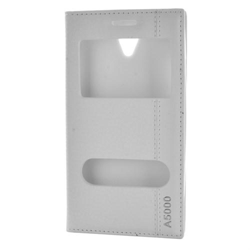 Cep Market Lenovo A5000 Kılıf Pencereli Kapaklı Mıknatıslı - Beyaz