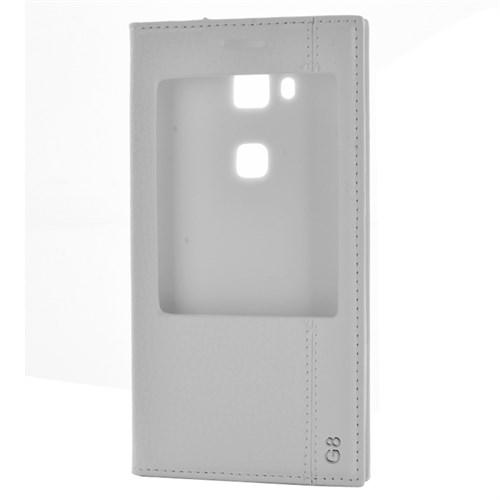 Cep Market Huawei G8 Kılıf Pencereli Kapaklı Mıknatıslı Magnum - Beyaz
