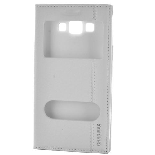 Cep Market Samsung Grand Max Kılıf Pencereli Mıknatıslı Magnum - Beyaz