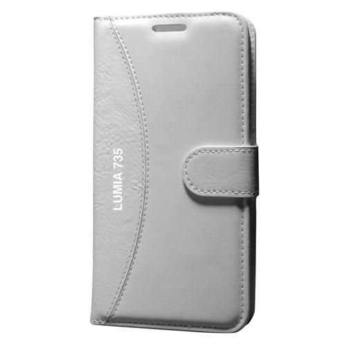 Cep Market Nokia Lumia 735 Kılıf Standlı Cüzdan - Beyaz