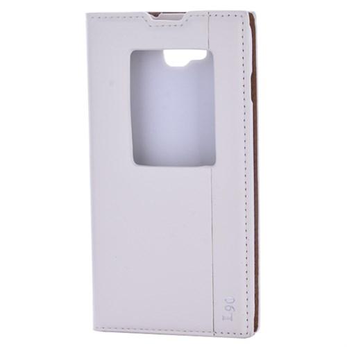 Cep Market Lenovo L90 Kılıf Pencereli Kapaklı Mıknatıslı - Beyaz