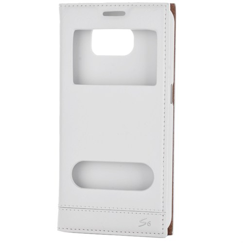 Cep Market Samsung Galaxy S6 Kılıf Pencereli Kapaklı Mıknatıslı - Beyaz