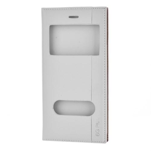 Cep Market Apple İphone 6 Plus Kılıf Pencereli Kapaklı Milano - Beyaz