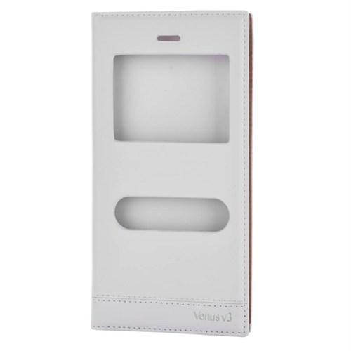 Cep Market Vestel V3 5570 Kılıf Pencereli Kapaklı Milano - Beyaz