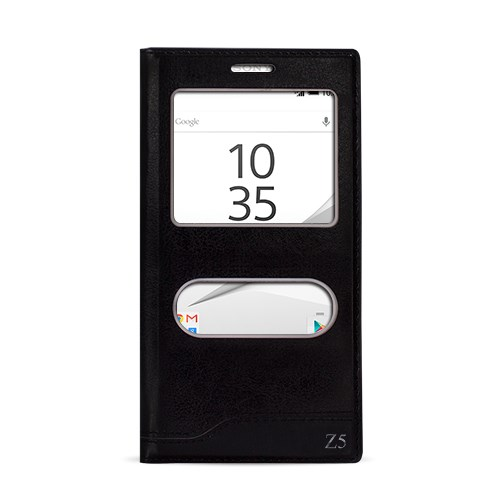 Fitcase Dolce Xperia Z5 Gizli Mıknatıslı Pencereli Kılıf Siyah